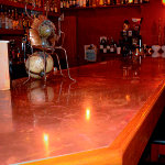 High gloss copper counter tops for bar like atmosphere